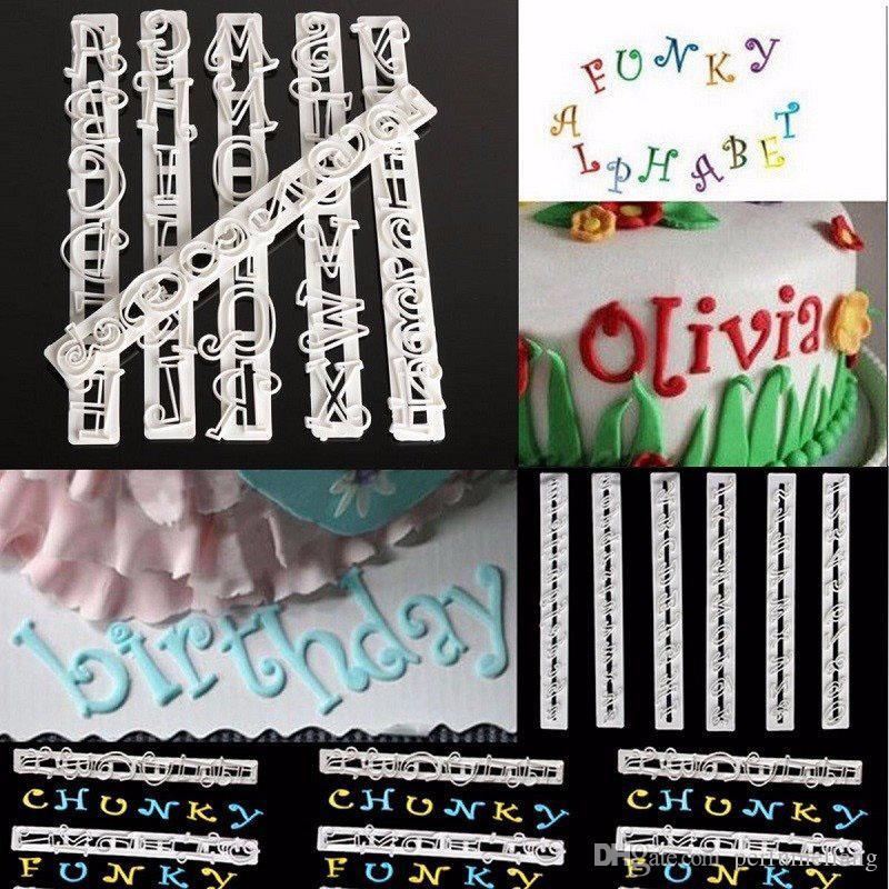 100 Unidades 6 Unids / set Alfabeto Número Letra Impresionar Galleta Galleta Sello Estampado Pastel Cortador Fondant DIY Molde Herramienta Sugarcraft Decorating ZA0490