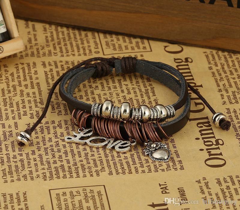 Mens Love Heart Leather Wrap Bracelet Jewelry Genuine Handmade Alloy Charms Bracelets Wristbands Designs
