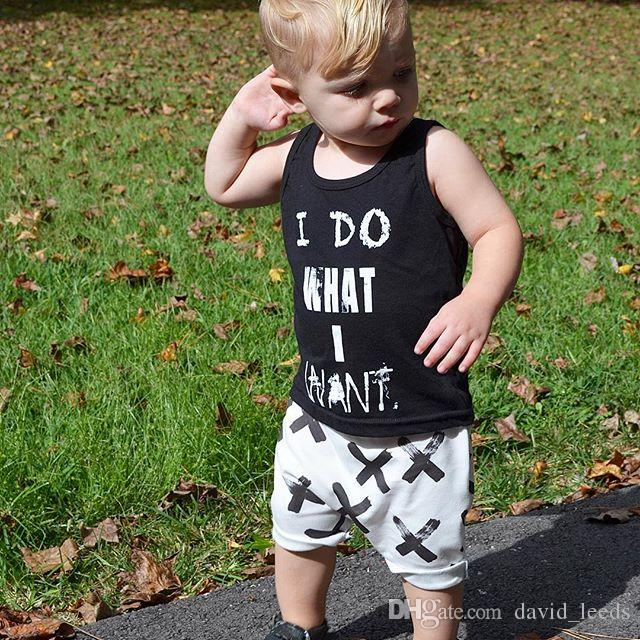 2016 Summer New Fashion Boys Clothing Sets Baby Boy Letters Printed Vest Tops+Pants Set Kids Casual Suits Small Boys Outfits
