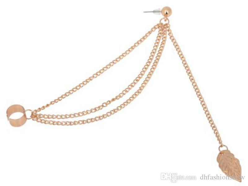 European Women Ear Cuff Vintage Gold Plated Leaf Dangle Earrings Fashion Tassel Earrings African Statement Earrings Jewelry boucle d'oreille