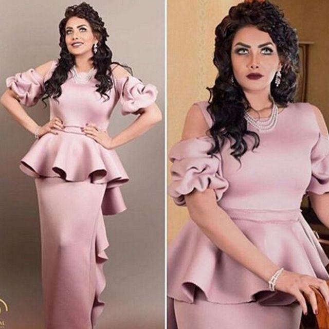 2016 vestidos de noche de Arabia Saudita con manga corta Dusty Pink vestido de noche de Oriente Medio saudita única
