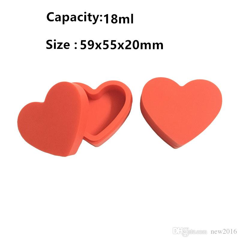 4 X Oil Slicks Concentrate Wax Bho Dab Silicone Jars Containers Non-Sticky Silicone Case Heart Shape