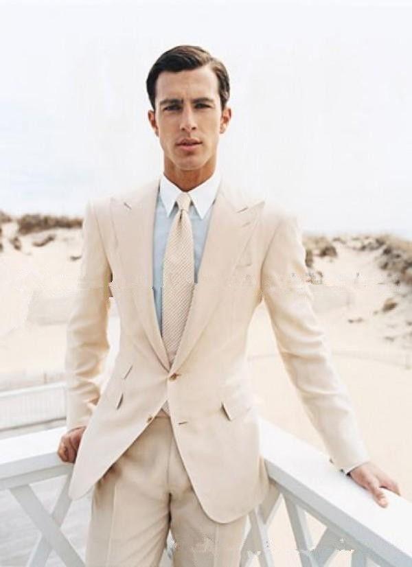 Groom Tuxedos Two Buttons Light Beige Groomsmen Peak Lapel Best Man Mens Wedding Suits Bridegroom Jacket+Pants+Tie