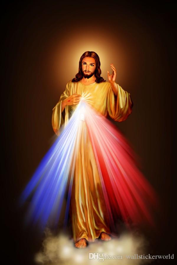 2016 Divine Mercy Image Love Jesus Christ Motivational fabric silk poster print Room Decoration canvas wall art