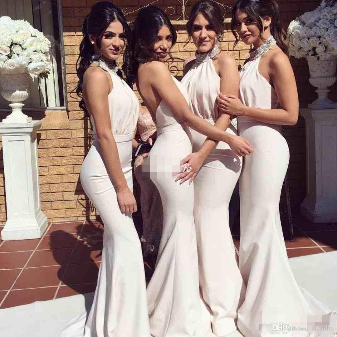 New Design Halter Neck Long Bridesmaid Dresses Mermaid Beaded Cheap Backless  2018 Wedding Guest Gowns For Evening Party Gowns Custom Made Short Sleeve  ... 346d992d212e