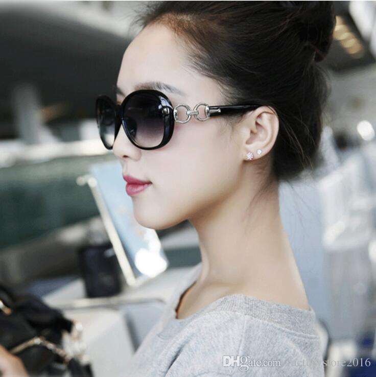 Diseñador de la marca para mujer Gafas de sol de gran tamaño Vintage Tortoise Frame Lens Retro gafas de sol redondas para mujer Sombras Gafas de sol