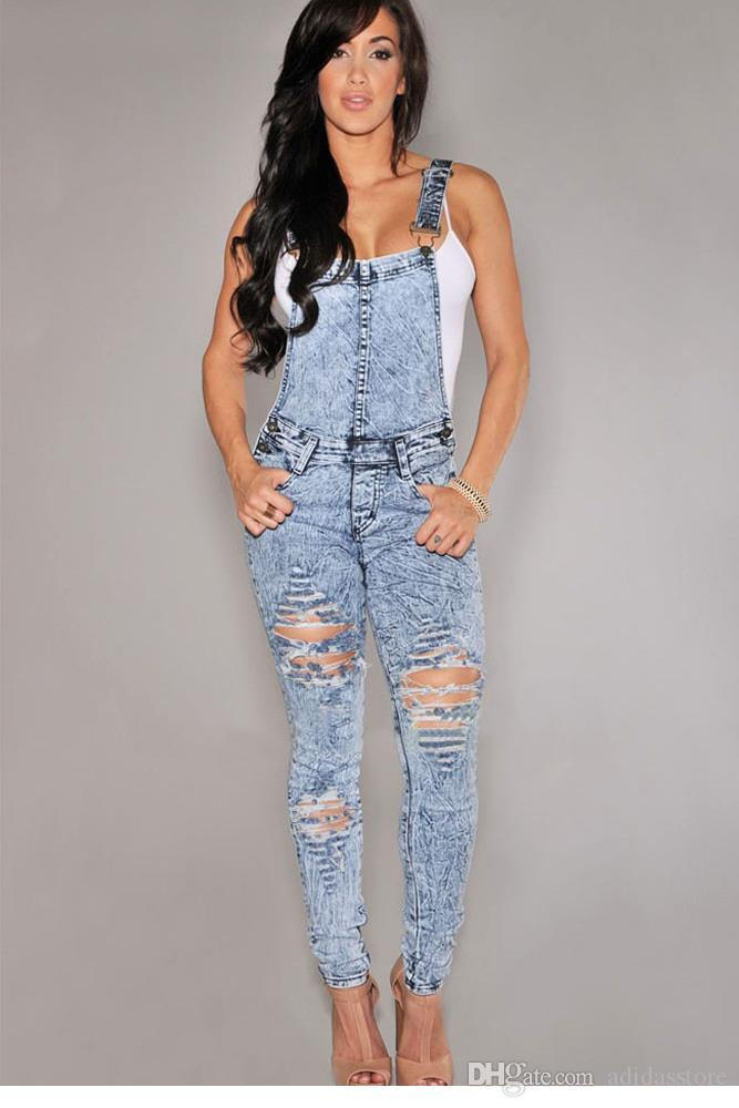 Hot Fashion Stone Wash Denim Destroyed Fitted Overall Summer Style Wholesale Women Casual Ladies Jeans Jumpsuits