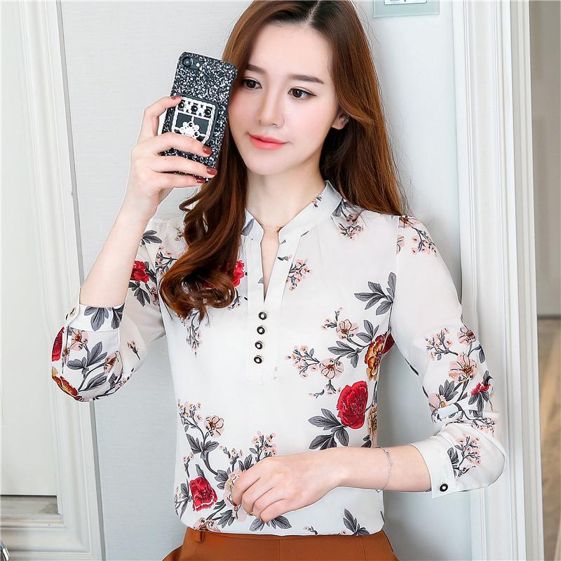 4b130cf2c34 2019 Autumn Fashion Puff Sleeve Printed Shirts Floral Chiffon Shirt V Neck  Long Sleeve Blouse Loose Tops Women Blouses From China ada