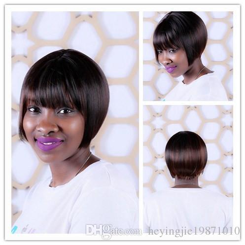 High Quality 8inch Straight Dark Brown Highlights On Hair Heat