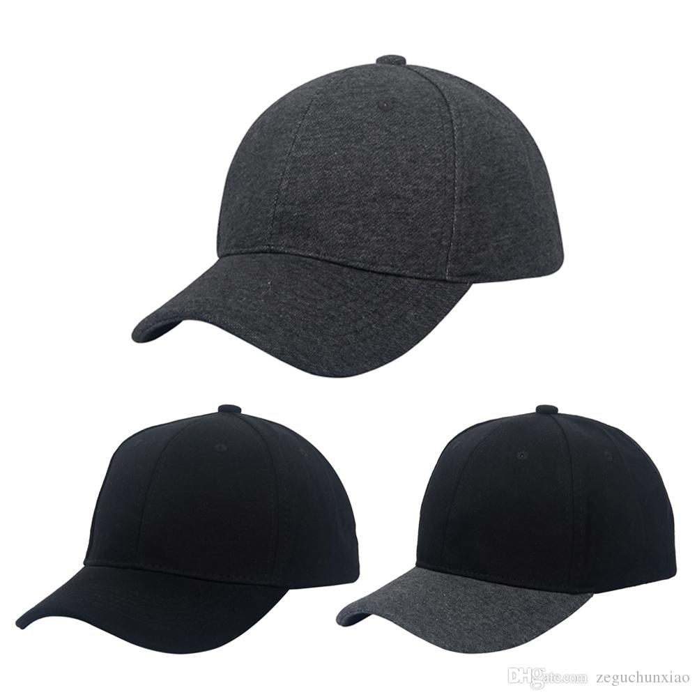 2017 Plain Pattern Baseball Cap Cool Structured Cap 6 Panels Strapback Hats  Solid Black Grey Color Grey Black For Unisex Spring   Fall Embroidered Hats  ... 3ede61477