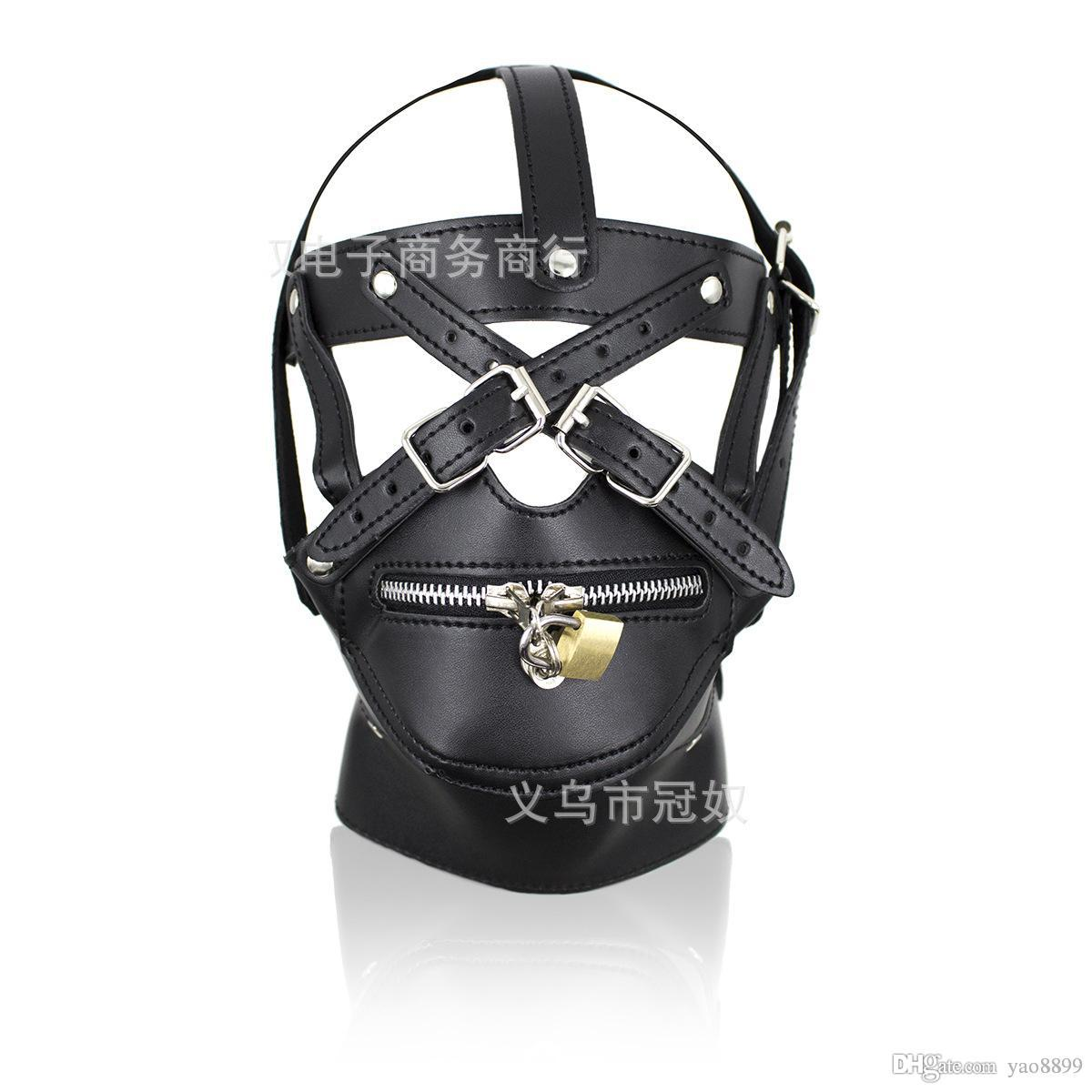 2017 BDSM Sex Toys Black Leather Head Harness With Muzzle Leather Muzzle Bondage Restraint Gear Adult Sex Product A990