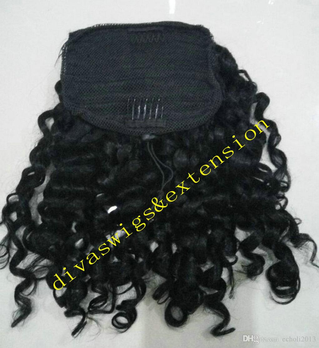 Side part afro puffs black clip in romatic curly brazilian virgin hair drawstring ponytail hair extensions 120g