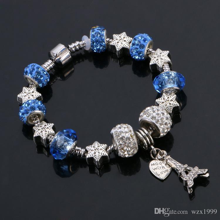 925 Silber Armband Eiffelturm und Liebesstil Großhandel Europäischen Charme Perlen passt Pandora Armbänder für Männer / Frauen