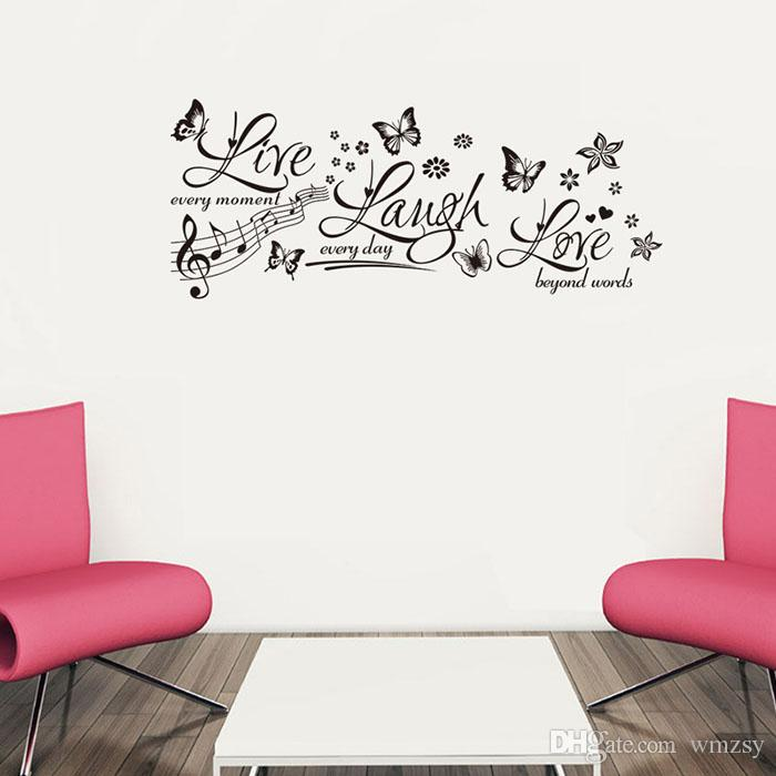 Live Laugh Love Wall Stickers Butterfly Music Notes Wall Decals - Wall decals live laugh love