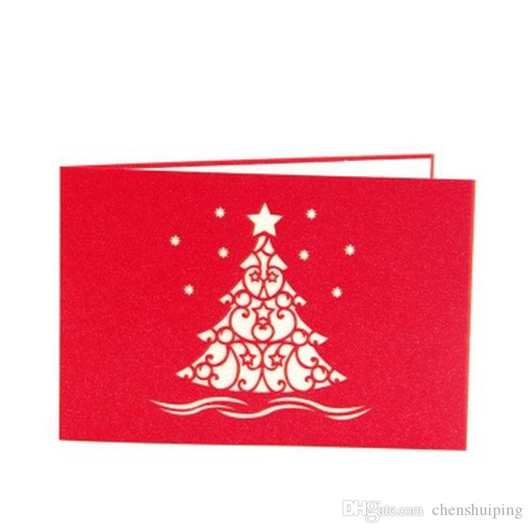 Merry Christmas Snowflake Tree 3D Paper Cut Handmade Greeting Cards For Christmas Gifts Event Party