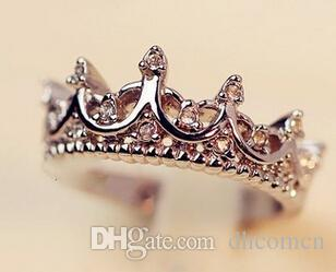 Corona di cristallo Anello le donne Palazzo antico Regina gioielli in oro rosa Colore argento oro regalo carino