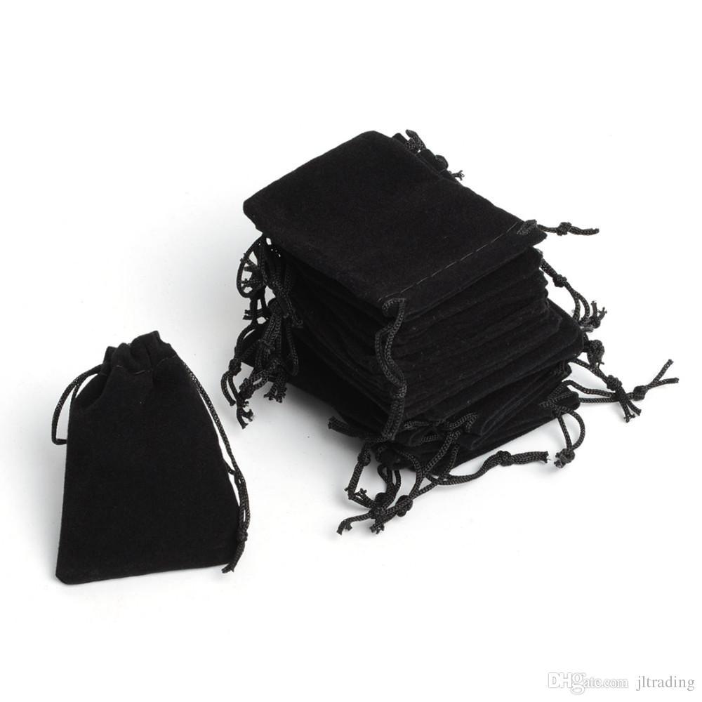 Darmowa Wysyłka 100 sztuk / partia 7x9cm Przenośny Czarny Velvet Prezent Etui Mała Biżuteria Torba Biżuteria Pakowanie Wouch