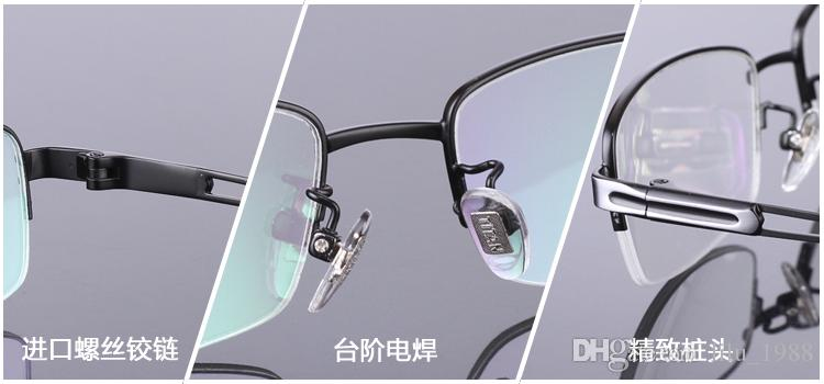 2016 brand designer men Titanium eyeglasses frames clear lens Male Lightweight Reading eye Glasses half-rim optical frame for business men