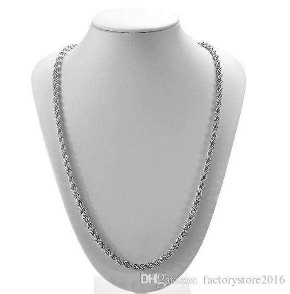 Новое прибытие стерлингового серебра 925 ожерелье цепи 3 мм 16-30 дюймов довольно мило мода Шарм веревка цепи ожерелье ювелирные изделия Бесплатная доставка