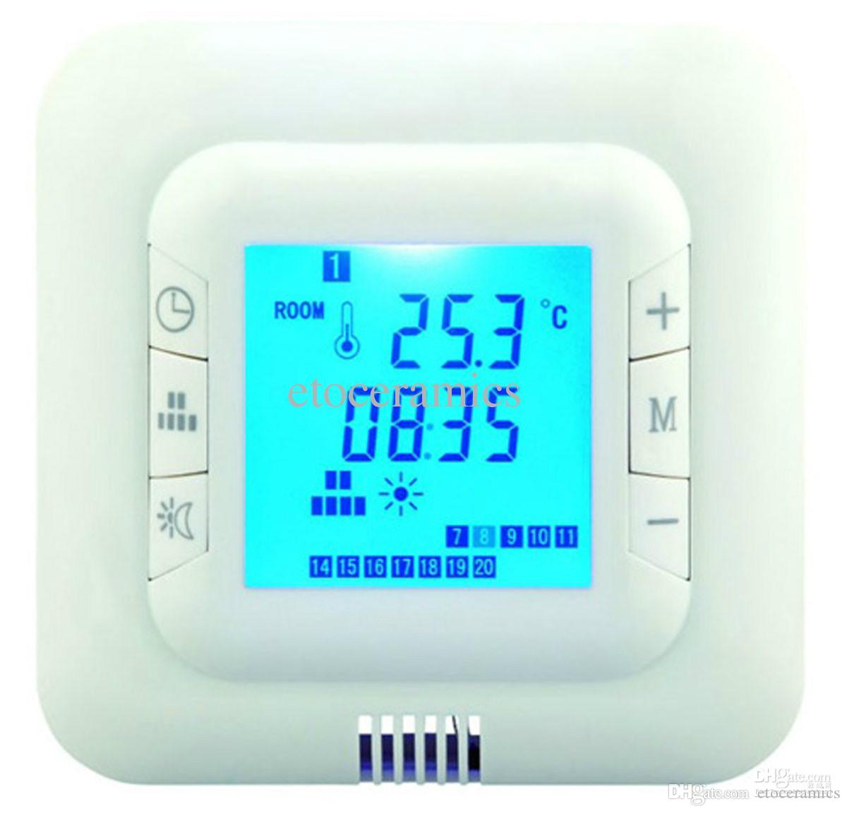 Digital floor Heating programmable Thermostat room temperature controler 2 sensor with Floor Air Sensor blue/gree/white back colo