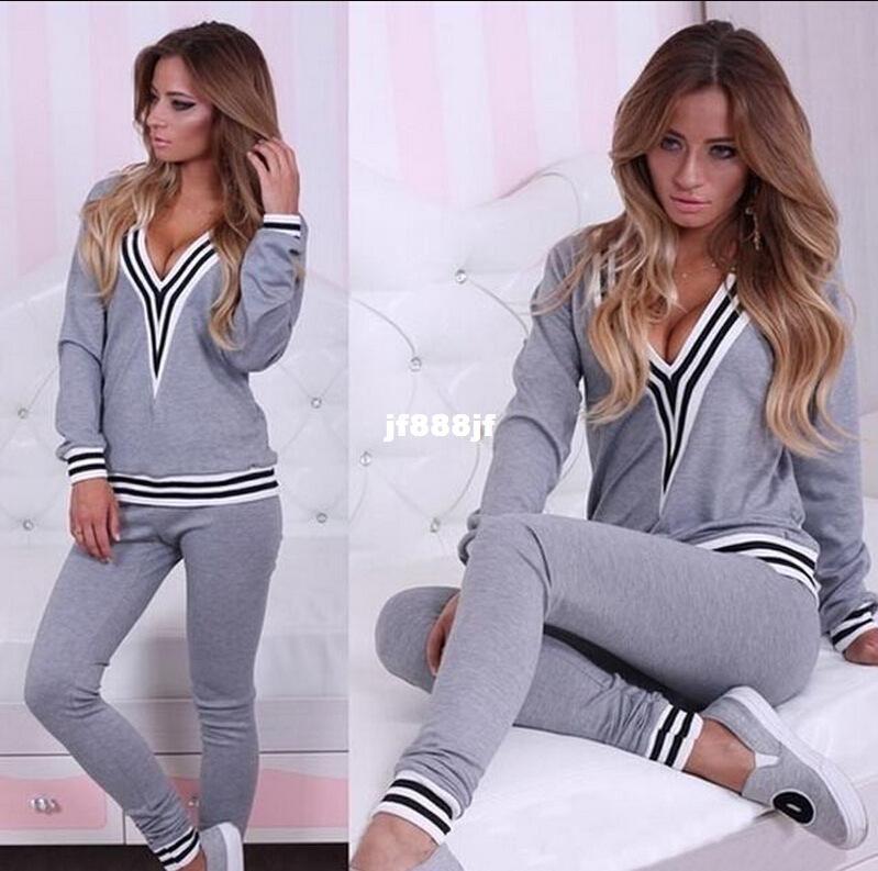 397d99790f88b Acheter 2016 Femmes Coton Survêtement Sport Suit Sexy Hoodies Sweat + Pantalon  Jogging Femme Sportswear Plus La Taille S XL De $26.04 Du Jf888jf | DHgate.