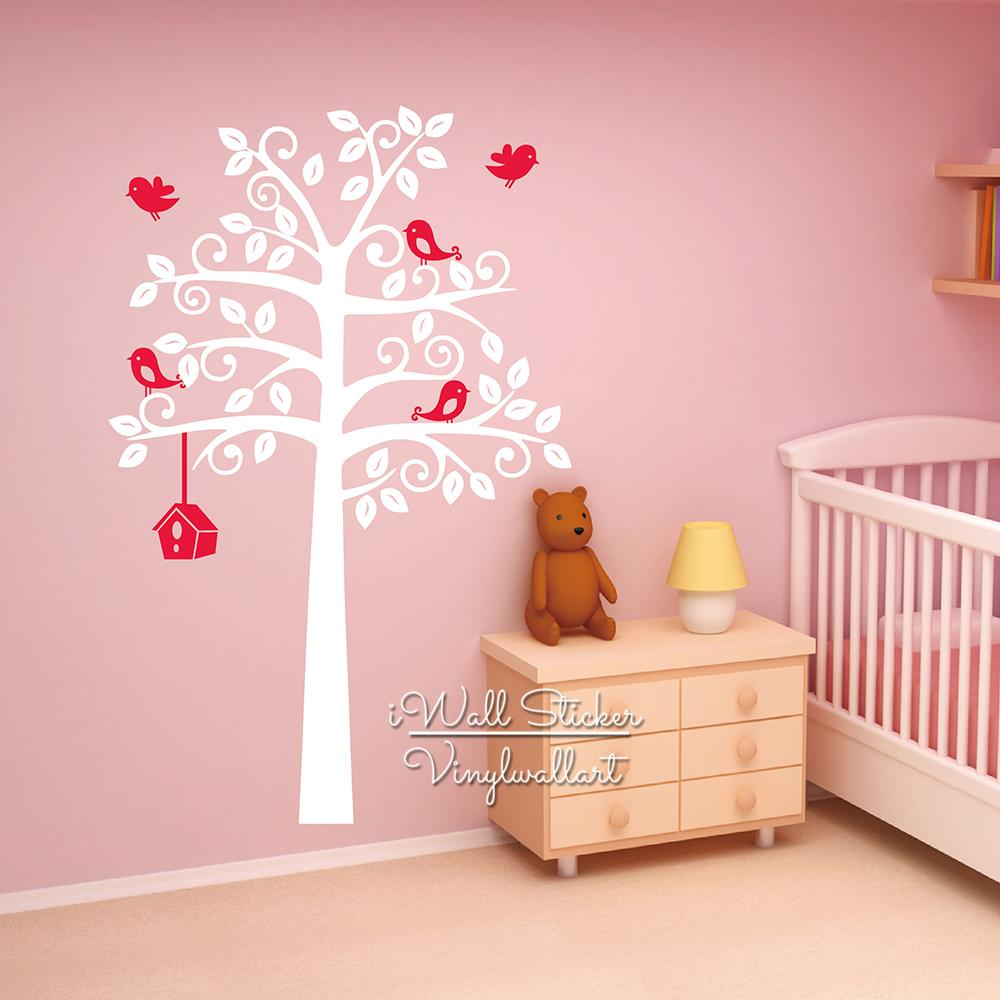 Baby nursery tree wall sticker birds tree wall decal diy large see larger image amipublicfo Image collections