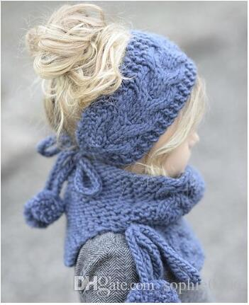 Girl Knitted Cap and Muffler sets Baby Warm Hats and Shawl set Kids Fashion Spring Autumn Winter Hat Christmas Gifts SHC 001