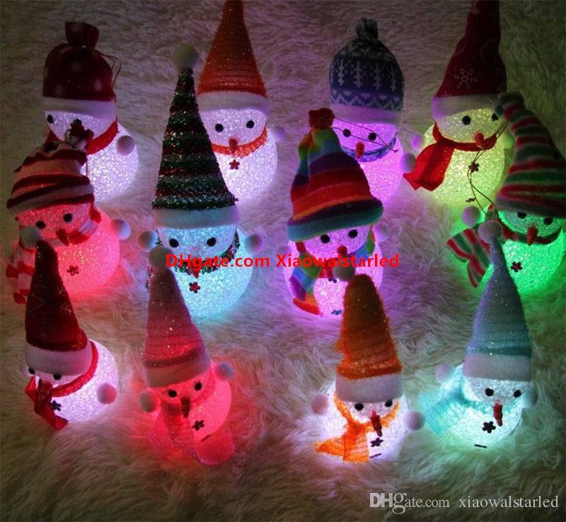 Colorful light flash snowman Christmas gift Small night light rice crystal Christmas snowman nightlight The Christmas Decoration