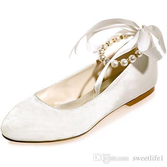 Women's Wedding Bridal Shoes Round Toe Evening Prom Party Flats with Pearls Ribbins ZXF9872-15A