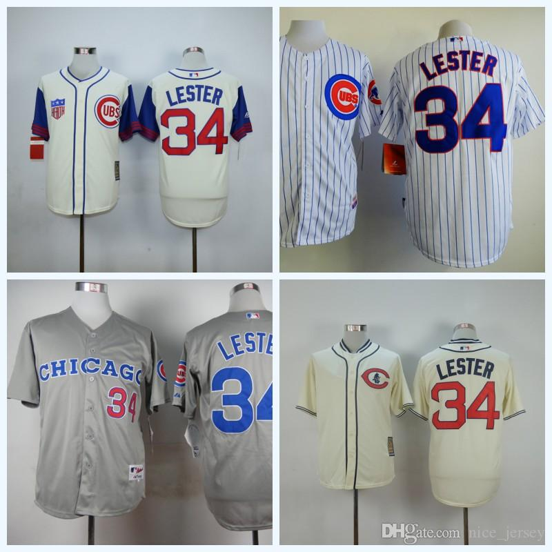 4e09c3bd7 ... 2017 MenS Chicago Cubs 34 Jon Lester Mlb Jersey White Blue Stitched  Authentic Cool Lester Baseball ...