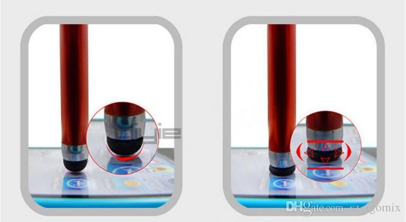 Universal Retrátil Flexível Capacitivo Stylus Touch Pen Poeira Plug Cap para iPhone Celular Tablet PC iPad
