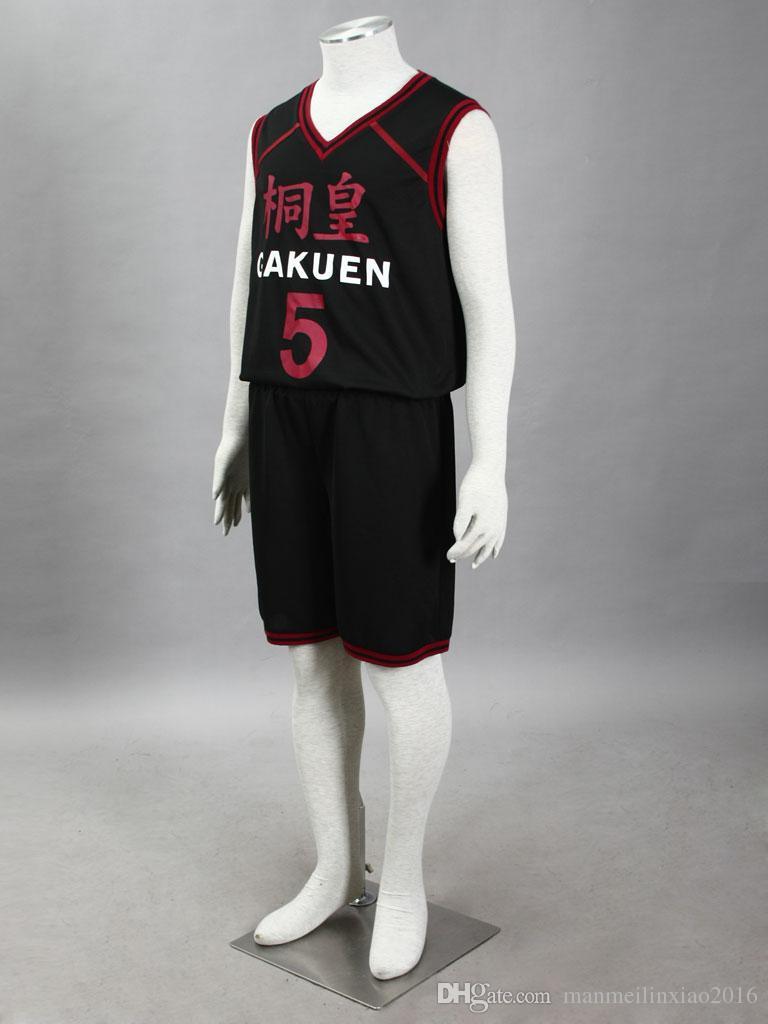 고품질 농구 저지 코스프레 Kuroko의 Basuke Daiki Aomine NO.5 코스프레 의상 스포츠 의류 탑 + 셔츠 블랙