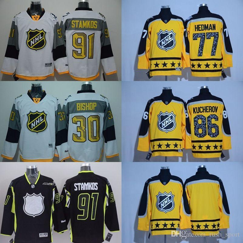 2019 Tampa Bay Lightning NHL Jerseys 2015 2016 2017 All Star Game Hockey  Jerseys STAMKOS 91 BISHOP 30 HEDMAN 77 KUCHEROV 86 Black White Yellow From  ... 93cf7b35493