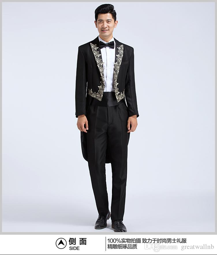 100%real Mens Black Embroidery Collar Swallowtail Suit Tuxedo Jacket with  Pants Black Wedding Suit swallow Suit Tuxedo Jacket Online with   110.18 Piece on ... 6ffcd76181bd