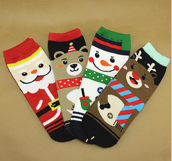 Inverno Donna Natale Pupazzo di neve Calzini Cartoon Babbo Natale Calzini Cotone stampato Calze Lady Fashion Natale scoiattolo Teddy Bear Gift