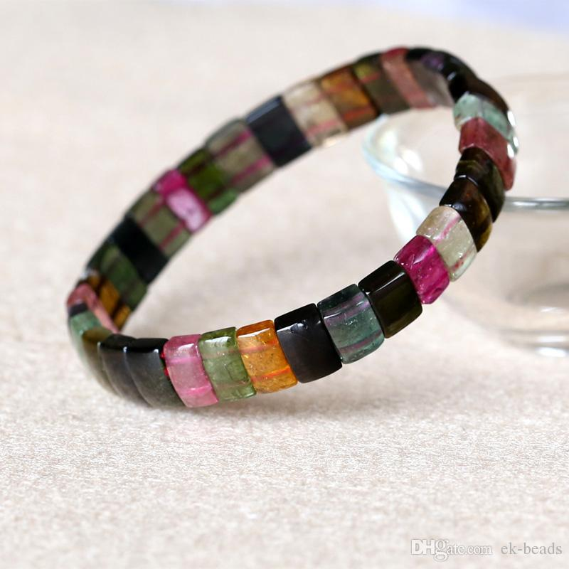 High Quality Natural Genuine Colorful Purple Green Pink Blue Tourmaline Multi-color Stretch Bracelet Flat Rectangle Beads 05023