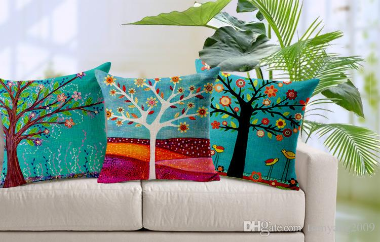 180g Natürliche Pflanzen Kissenbezug handgemaltes ölgemälde landschaft Grüne Bäume Blumen Vogel Kissenbezug Home Decor Sofa Kissenbezug 17,7 Zoll
