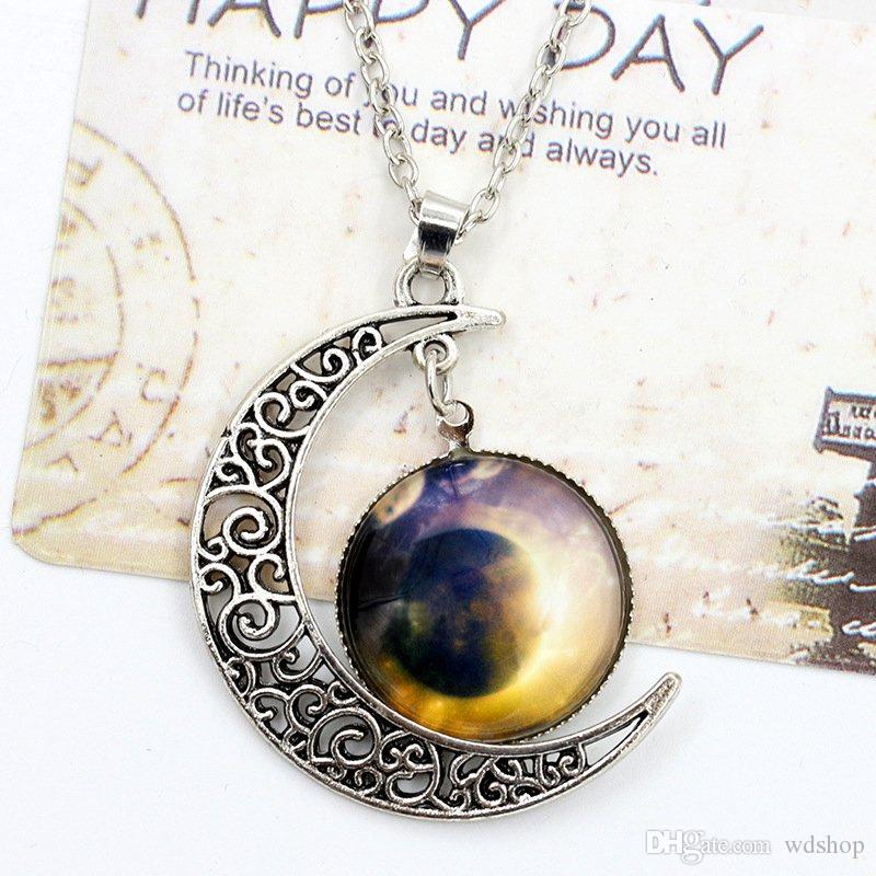 Vintage Moon Collier De Haute Qualité Lune Étoilée Gemstone Pendentifs Colliers Bijoux Enfants Accessoires Bjd Nerf Cadeau De Noël