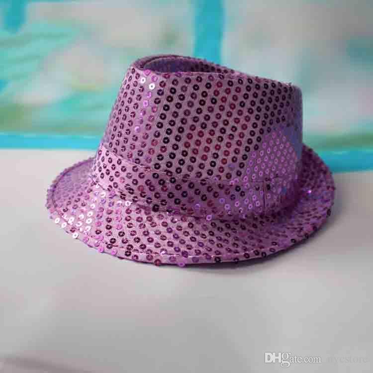 9 цвет девочек мальчиков bling шляпы горячие детские дети хлопок Джаз прохладный Cap фотография топ лето солнце блесток шляпа Trilby Floppy Hat для 2-8T