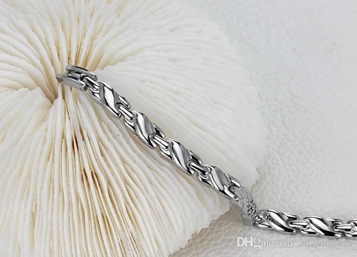ZHF Bijoux Femme Soins de Santé Bracelet Guérison En Acier Inoxydable Aimant Pierre Bracelets Chaîne Lien Corée Style Nouvelle Mode GS8379