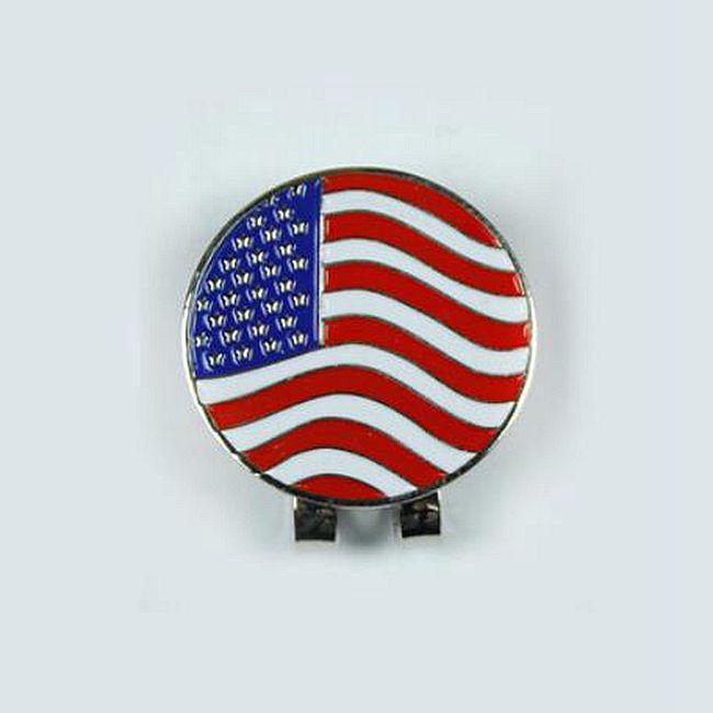 2016 neue US FLAG Outdoor Alloy Golf Ausrichtung Zielwerkzeug Ball Marker Magnetische Hut Clip Golf Zubehör