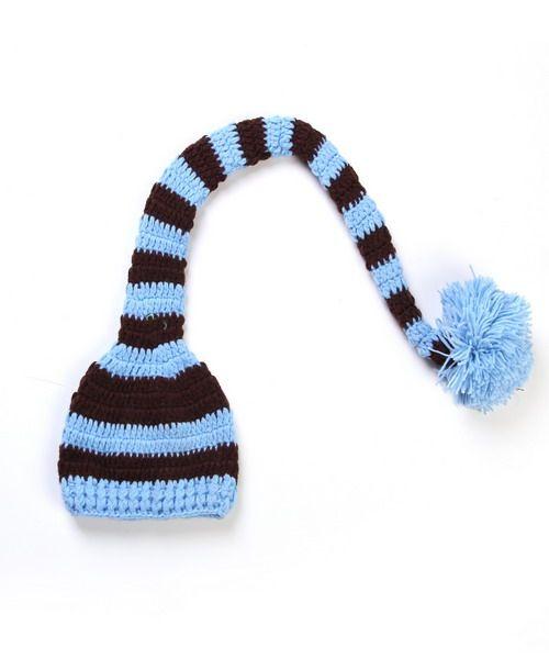 Recém-nascido Crochet fotografia Chapéu de Natal Artesanal De Malha De Crochê Bebê Pé Set Bebê Longa Cauda Listrada Chapéu Newborn Fotografia Prop