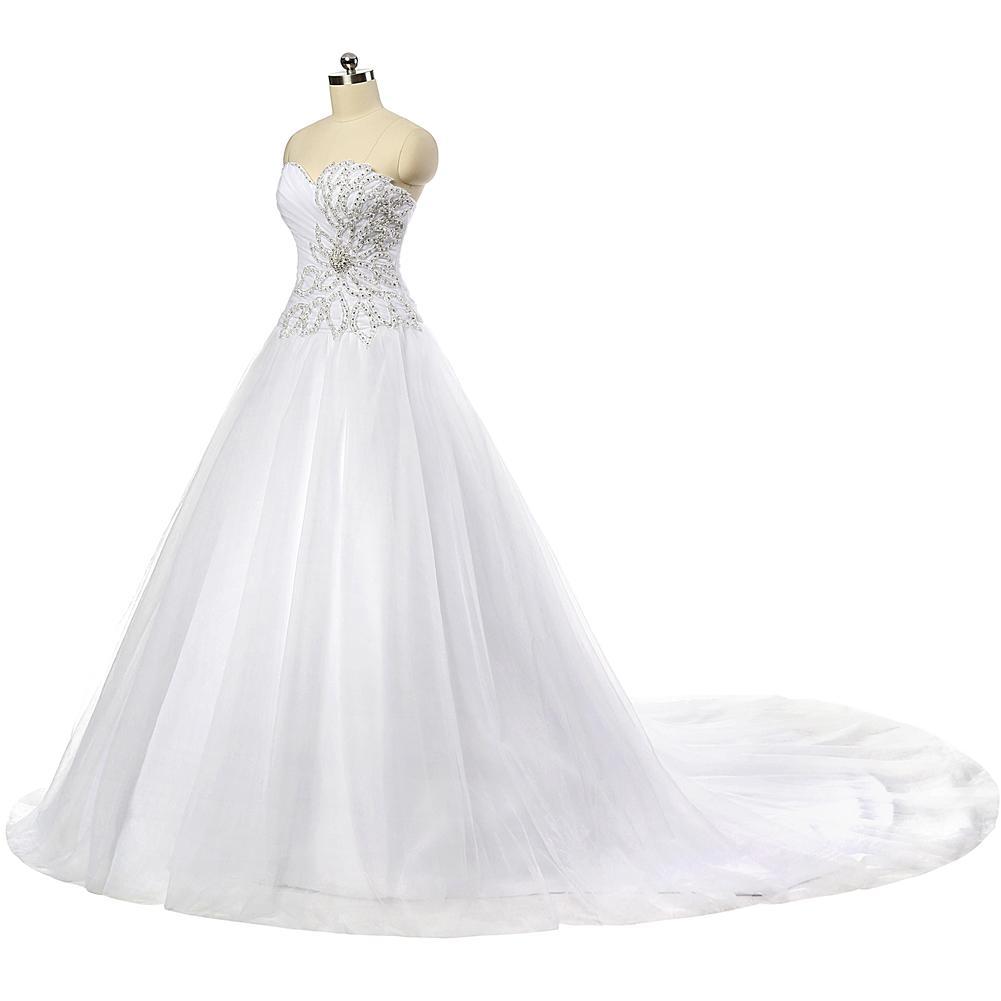 Robe de mariée pure robe de mariée en tulle perlée 2016 Jewel Neck robe de mariée avec tribunal train Real Photo