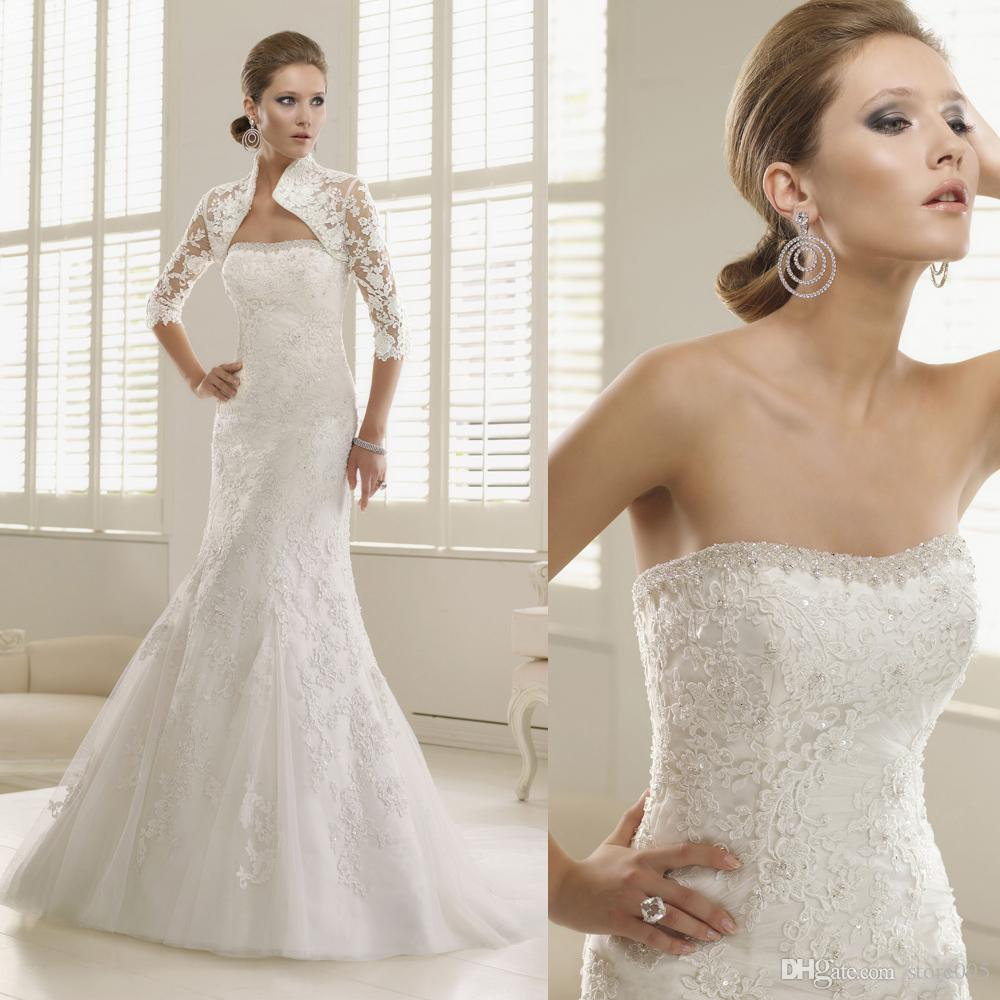 White Lace Mermaid Gown: Vintage White Lace Mermaid Wedding Dress 2016 Winter