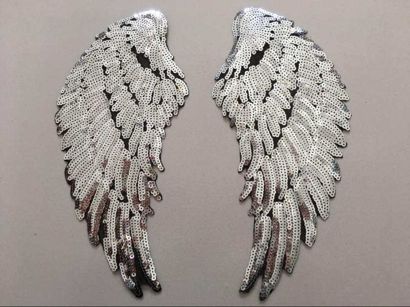 e de patchs de paillettes brodées motif aile d'ange zakka patchwork accessoires appliques DIY bricolage travail à la main belle