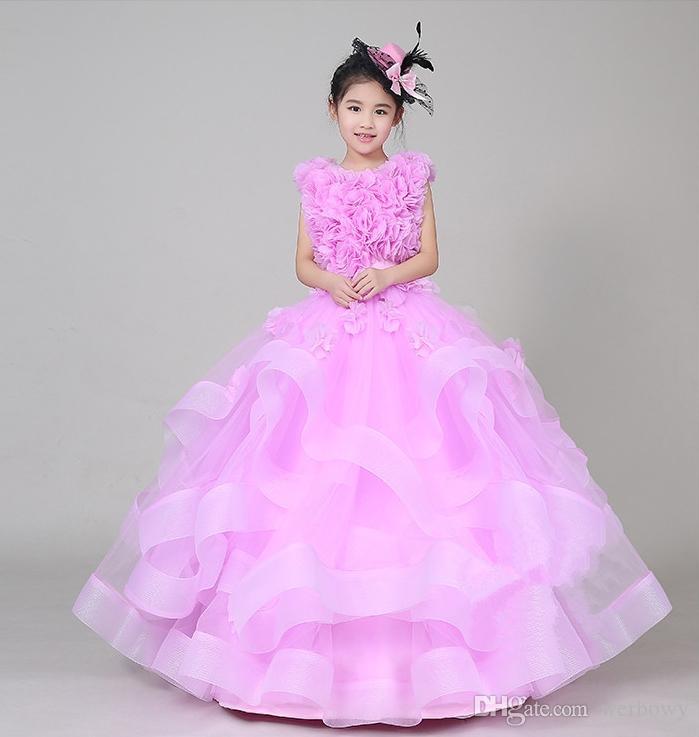 Alta qualidade frete grátis novo 2019 meninas vestido saia rosa desempenho piano menina catwalk dress roupas pompom saia vestidos