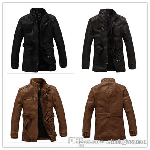 03d91551c1c5f 2018 Jacket Men Slim Warm Mens Washed Leather Motorcycle Biker ...
