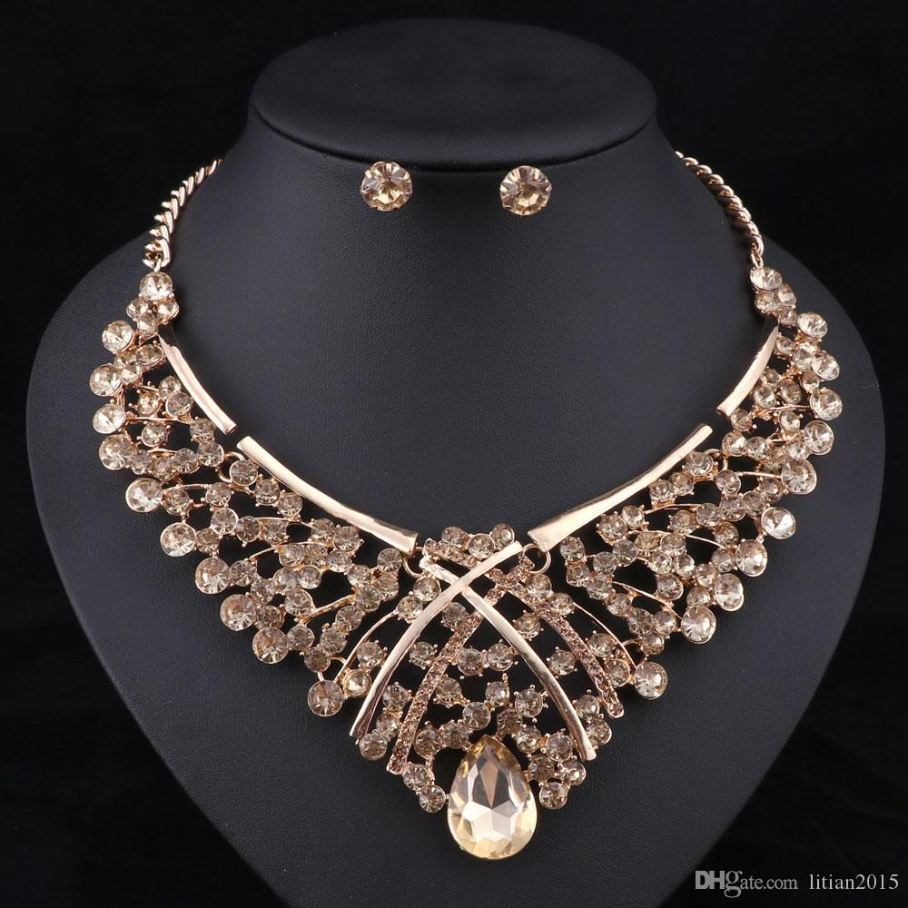 Africa Beads Jewelry Set Moda Nigerian Wedding Jewelry Sets para novias chapado en oro collar pendientes establece es