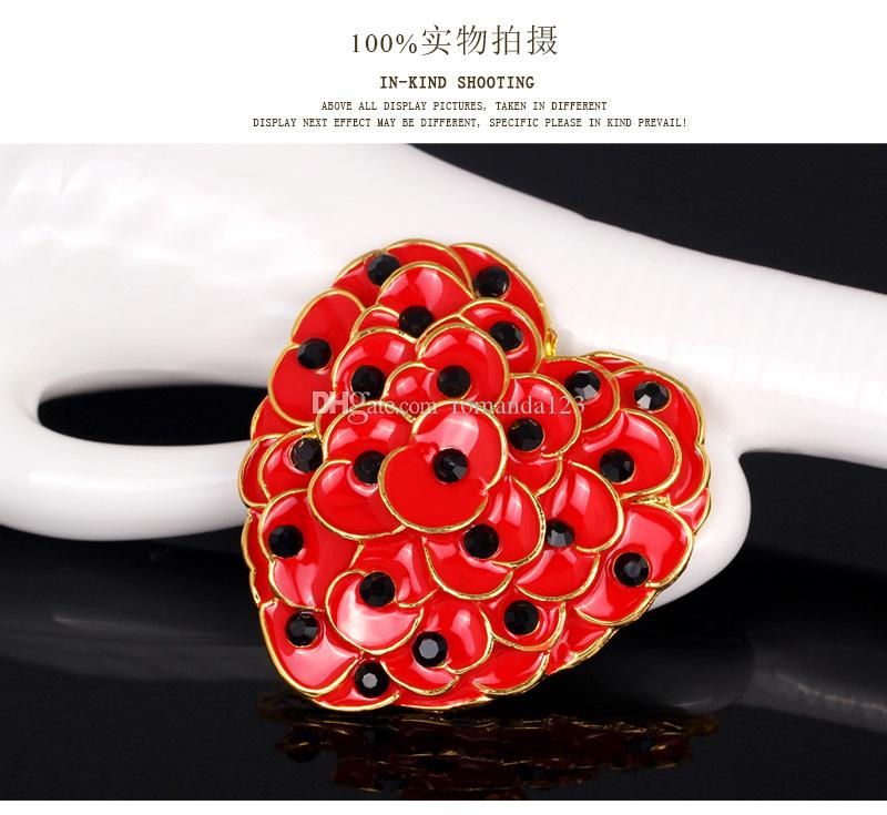 Ruby Red Enamel Heart Poppy Brooch Gold Tone Flower Remembrance Day Gift 2015 New DHL