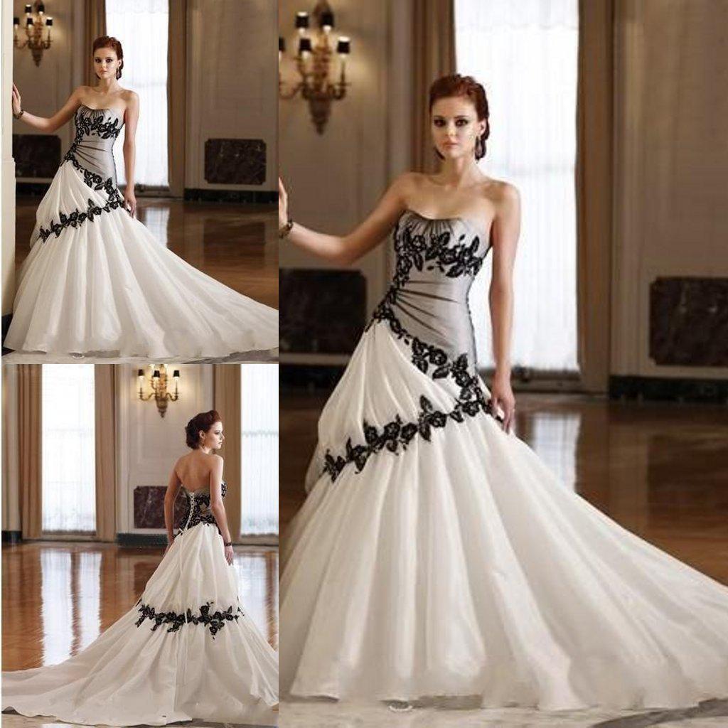 Gothic Wedding Dresses 2016 A Line Strapless Black Taffeta: Strapless Gothic Wedding Dresses White Taffeta And Black